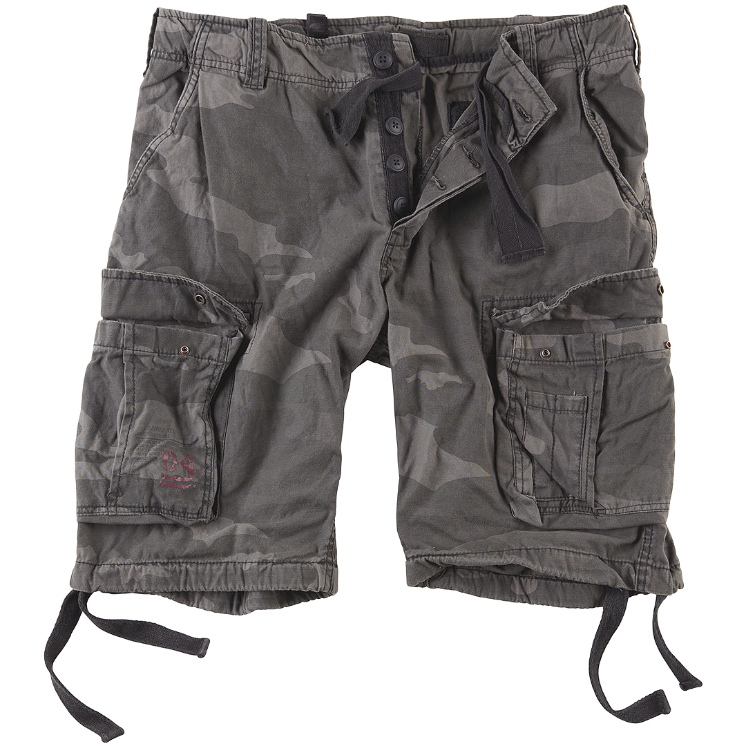 SURPLUS AIRBORNE VINTAGE ARMY SHORTS MENS MILITARY CARGO PANTS WASHED BLACK CAMO