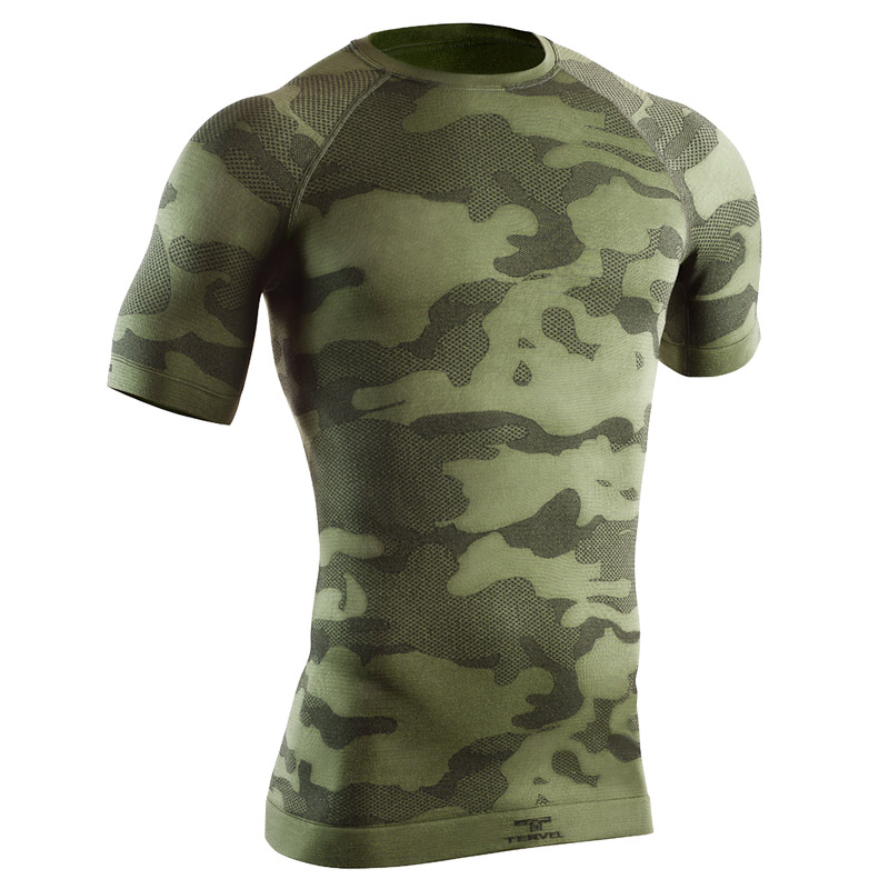 TERVEL OPTILINE TACTICAL THERMAL MENS SHORT SLEEVE SHIRT ARMY UNDERWEAR CAMO TOP