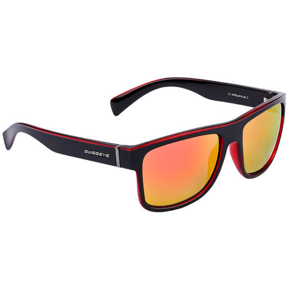 Swiss Eye Avenue Sunglasses Black Shiny / Crystal Red Frame