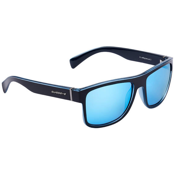 Swiss Eye Avenue Sunglasses Black Shiny / Crystal Blue Frame