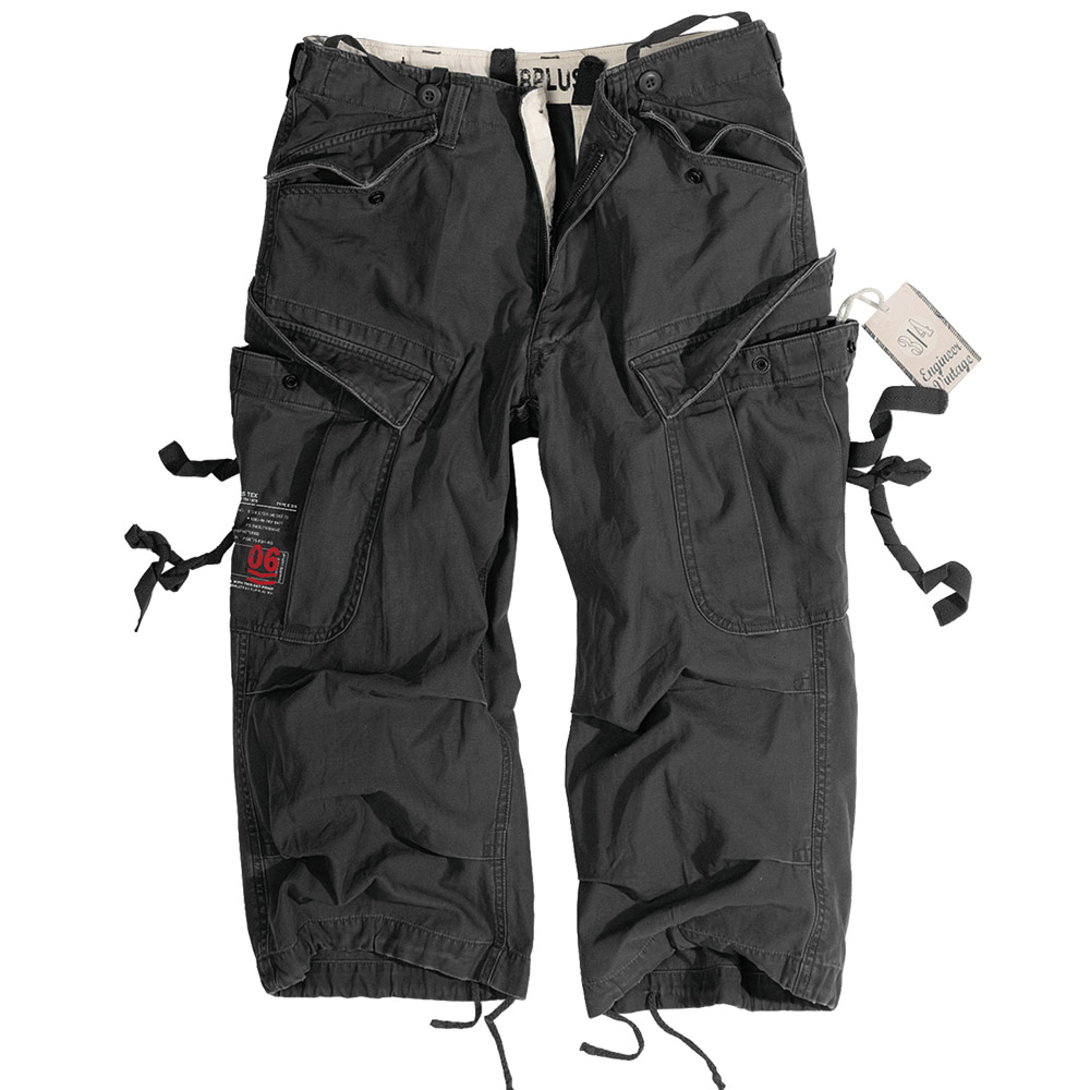 SURPLUS ENGINEER CLASSIC VINTAGE STYLE 3/4 MENS CARGO COMBAT LONG SHORTS BLACK