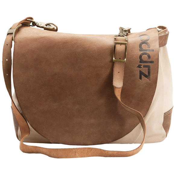 Zippo Washed Canvas Bag with Leather Brown