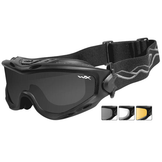 Wiley X Spear Goggles - Smoke Grey + Clear + Light Rust Lens / Matte Black  ...