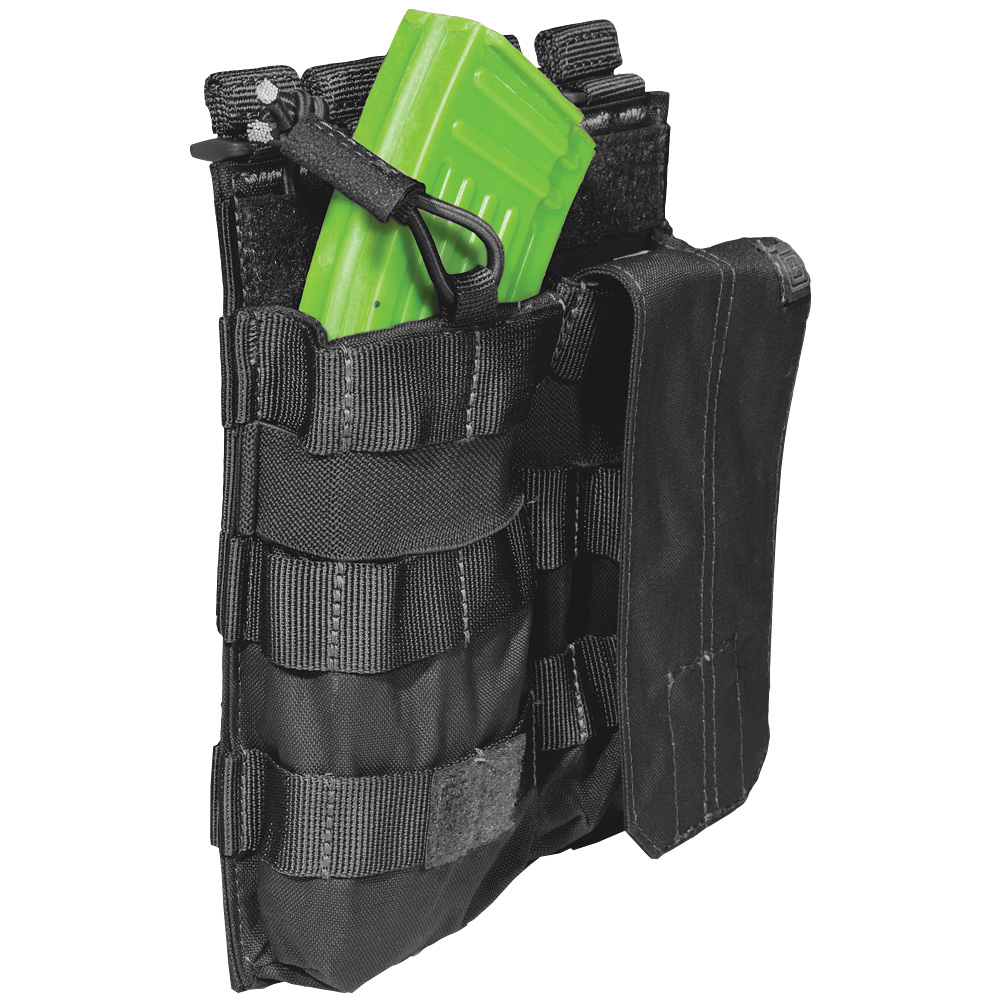 5.11 DOUBLE AK MAG BUNGEE AMMO POUCH with COVER TACTICAL 7.62 MOLLE CASE BLACK