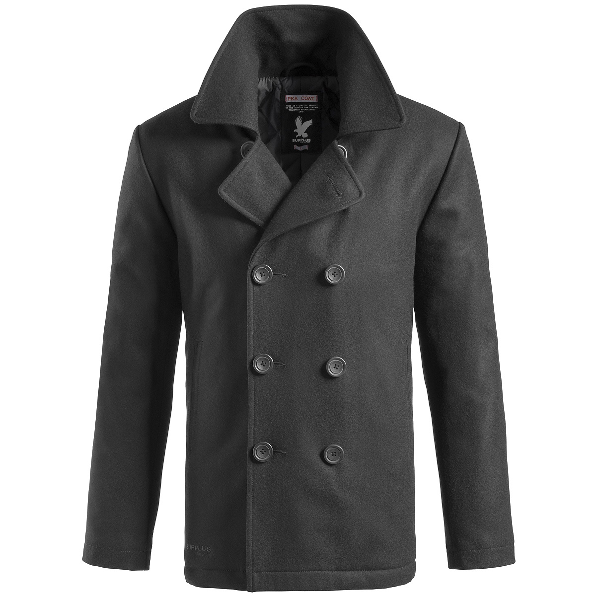 SURPLUS-US-NAVY-PEA-COAT-CLASSIC-STYLE-WARM-MENS-ARMY-REEFER-JACKET-WOOL-BLACK