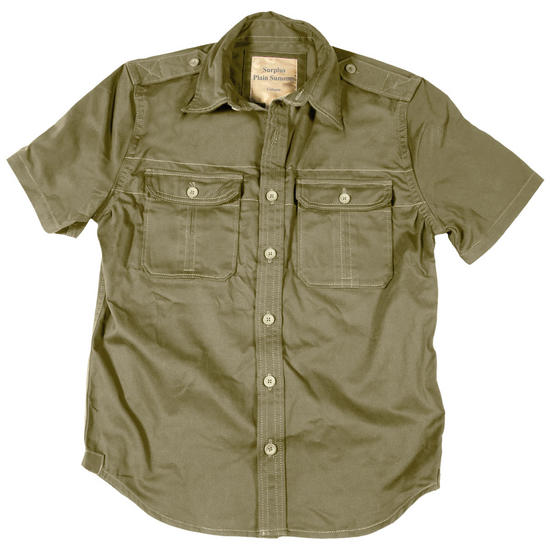 Surplus Plain Summer Shirt Short Sleeve Olive