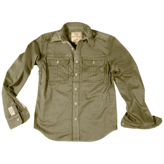 Surplus Plain Summer Shirt Long Sleeve Olive