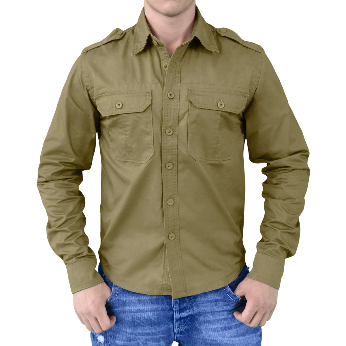 Surplus plain summer casual mens shirt military style long for Mens military style long sleeve shirts