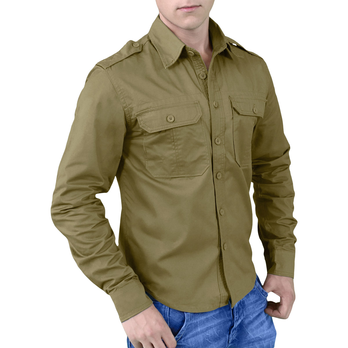 Surplus Plain Summer Casual Mens Shirt Military Style Long Sleeve ...