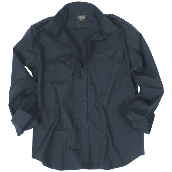 Mil-Tec RipStop Shirt Long Sleeve Navy Blue