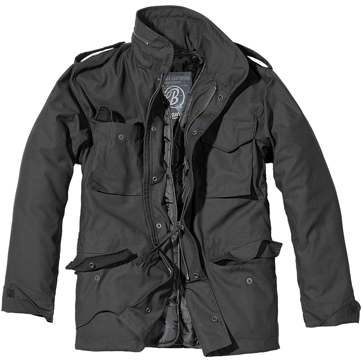 Sentinel Brandit Mens M65 Classic Security Field Jacket Police Coat  Military Parka Black a01638d7c673
