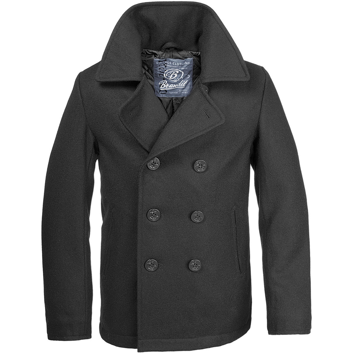 Brandit Classic Us Navy Pea Coat Warm Mens Marine Army Reefer Wool