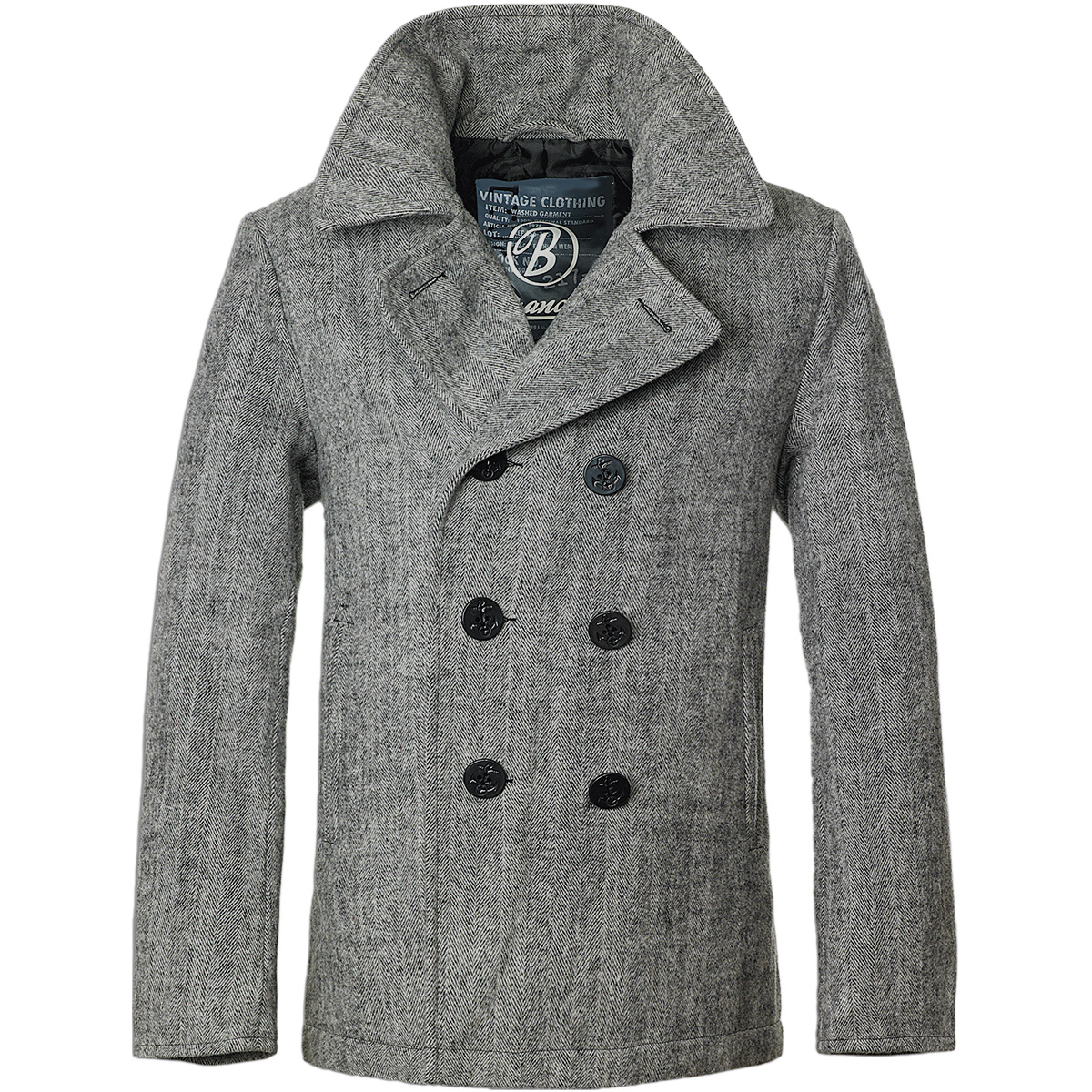 Brandit Classic Navy Pea Coat Mens Wool Reefer Jacket Anthracite ...
