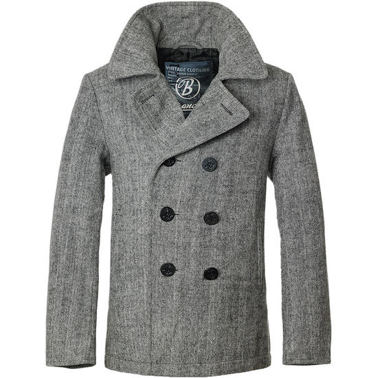 Brandit Pea Coat Anthracite Herringbone
