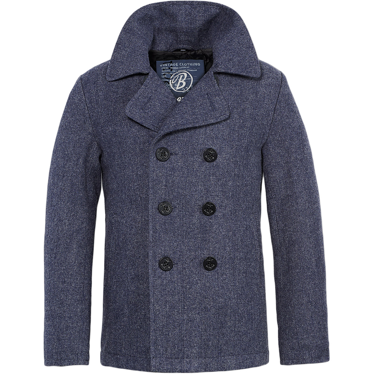 Brandit Classic Vintage Mens Pea Coat Navy Reefer Jacket Denim ...