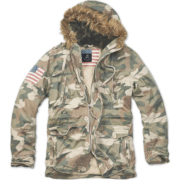 Brandit Vintage Explorer Stars & Stripes Jacket Woodland