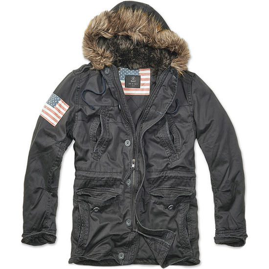 Brandit Vintage Explorer Stars & Stripes Jacket Black