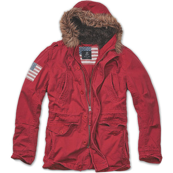 Brandit Vintage Explorer Stars & Stripes Jacket Red