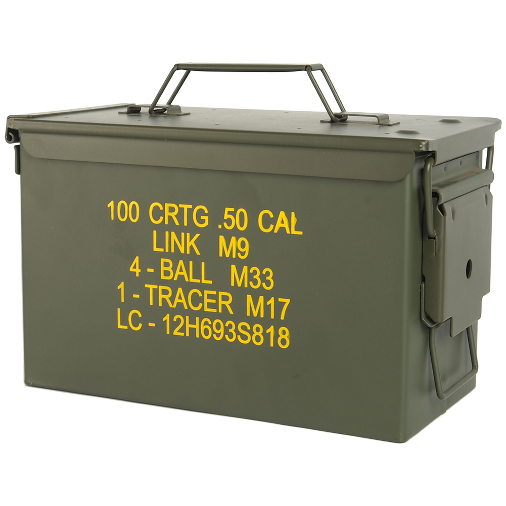 MIL-TEC M2A1 CAL.50 US ARMY AMMO STEEL BOX RANGE STORAGE ...
