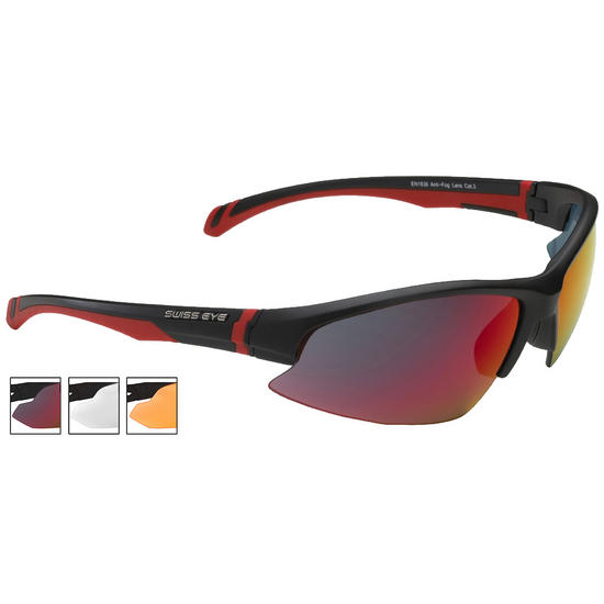 Swiss Eye Flash Sunglasses - Smoke BR Revo + Orange + Clear Lens / Black Matt Frame