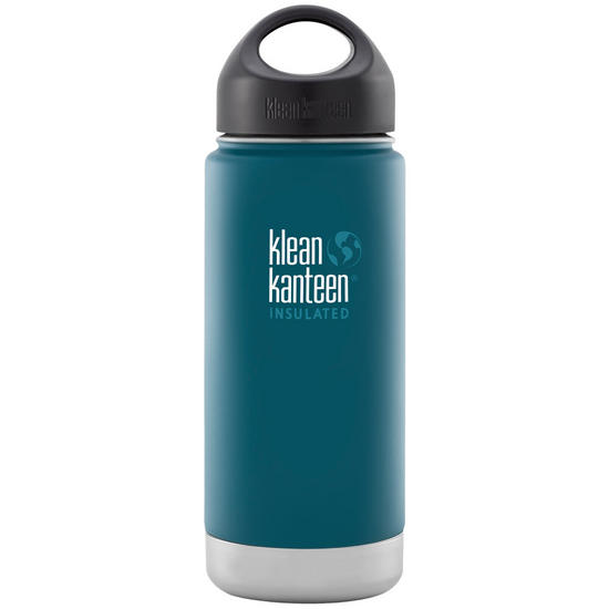 Klean Kanteen Wide Mouth Insulated 473ml Bottle Loop Cap Neptune Blue