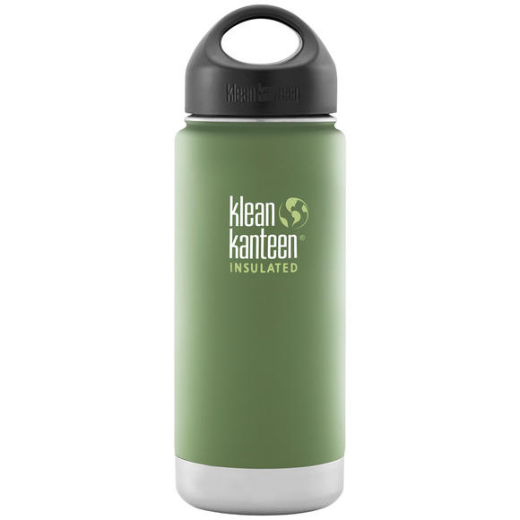 Klean Kanteen Wide Mouth Insulated 473ml Bottle Loop Cap Vineyard Green