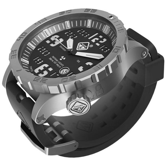 Hazard 4 Heavy Water Diver Titanium Tritium Watch Bead-Blasted Black Dial White Graphics GGYG
