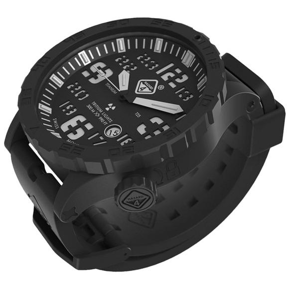 Hazard 4 Heavy Water Diver Titanium Tritium Watch Black PVD Black Dial White Graphics BBRB