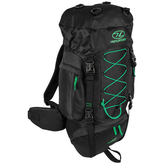 Highlander Rambler 44 Rucksack Black/Forest Green