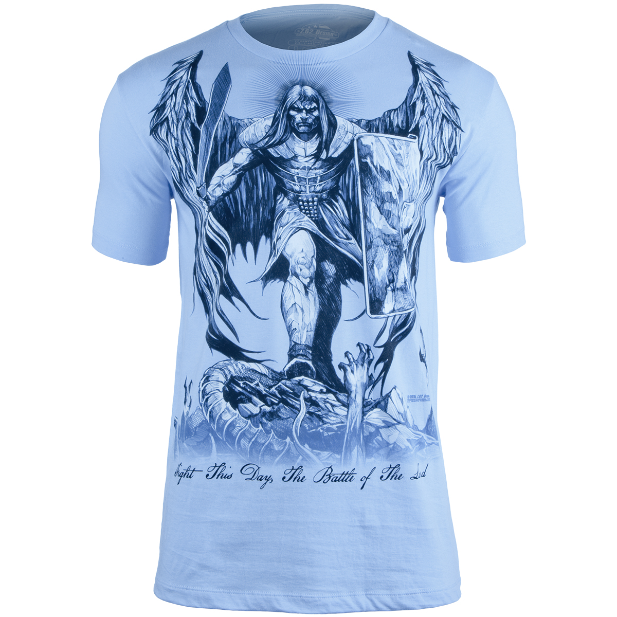Design t shirt uk - 7 62 Design St Michael Fight This Day T Shirt Light Blue