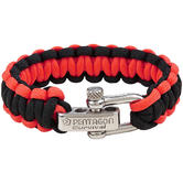 Pentagon Survival Bracelet Black Red