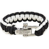 Pentagon Survival Bracelet Black White