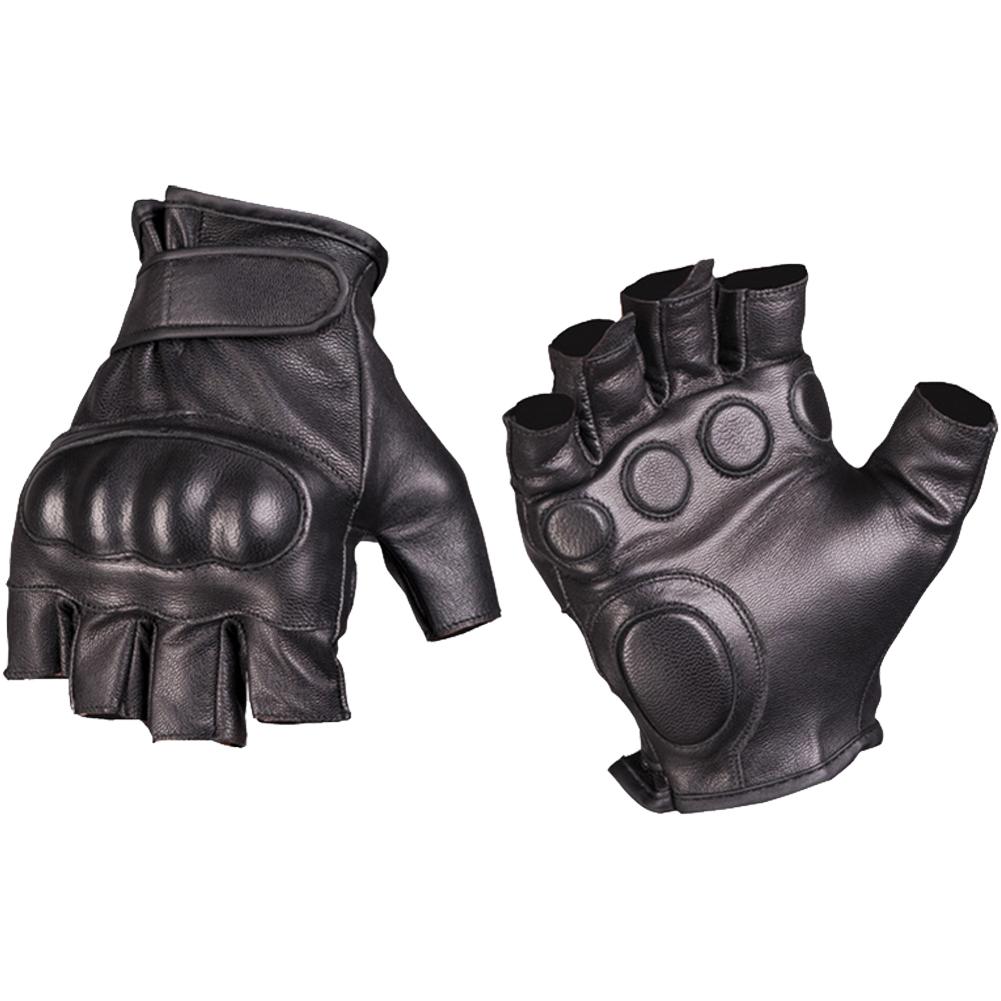 Black tactical gloves - Mil Tec Tactical Fingerless Leather Gloves Black Mil Tec Tactical Fingerless Leather Gloves Black