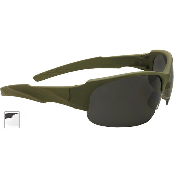 Swiss Eye Sunglasses Armored Frame Rubber Olive Lens Smoke