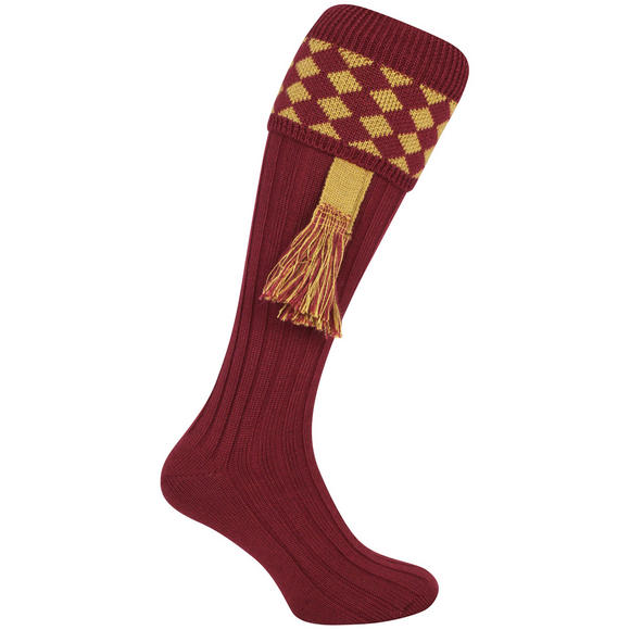 Jack Pyke Harlequin Shooting Socks Burgundy/Gold