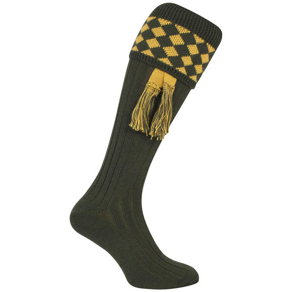 Jack Pyke Harlequin Shooting Socks Green/Gold