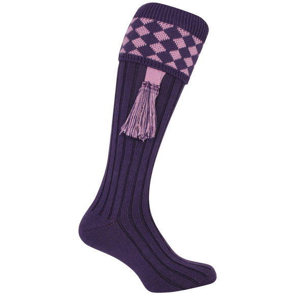 Jack Pyke Harlequin Shooting Socks Purple/Mauve