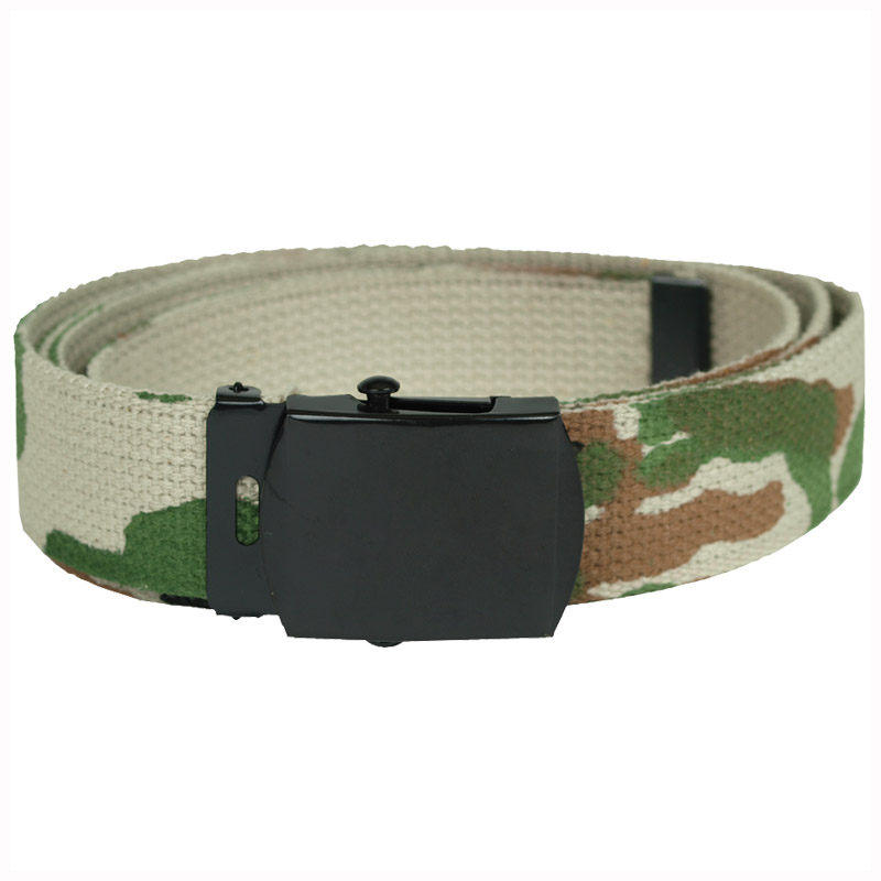 ARMY STYLE COMBAT PATROL MENS CADET WEBBING BELT COTTON CANVAS US WOODLAND CAMO