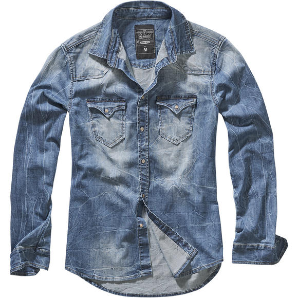 Brandit Riley Denim Shirt Denim Blue