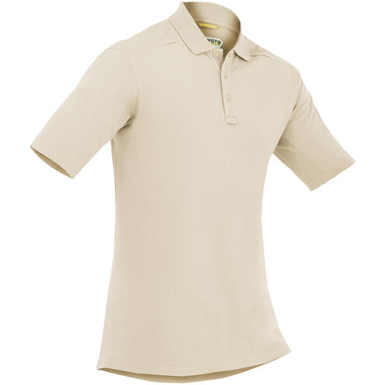 First Tactical Men's Cotton Short Sleeve Polo with Pen Pocket Khaki