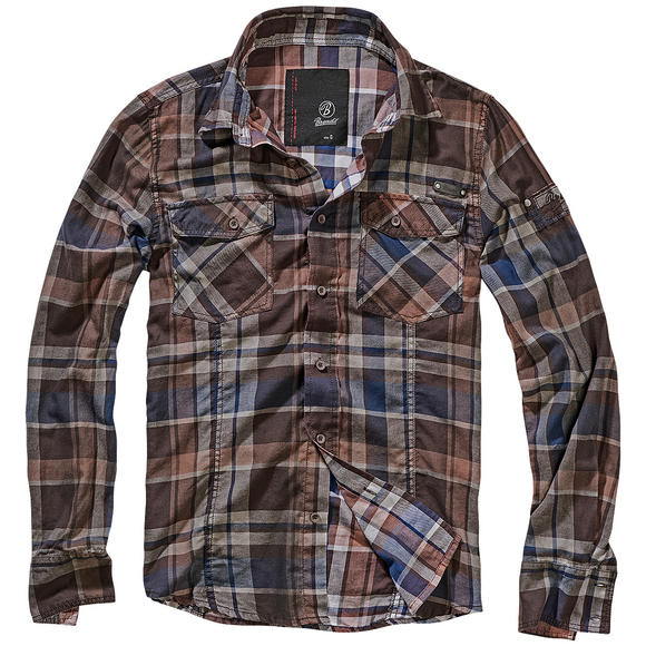 Brandit Check Shirt Choco / Blue