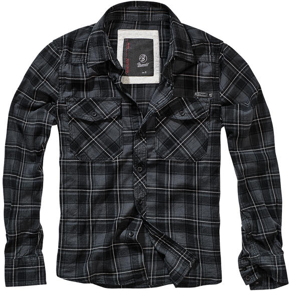 Brandit Flannel FIN Check Shirt Anthracite / Black