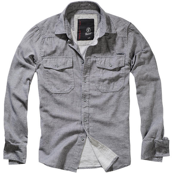 Brandit Tweedoptic Shirt Gray / Off-White