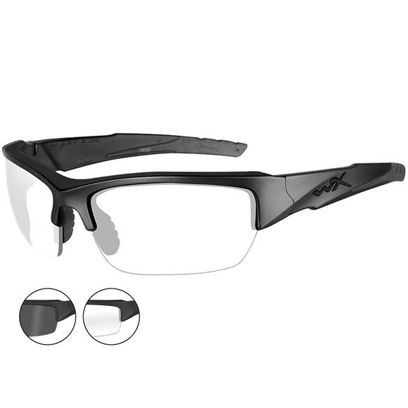 Wiley X WX Valor Glasses - Smoke Gray + Clear Lens / Matte Black Frame