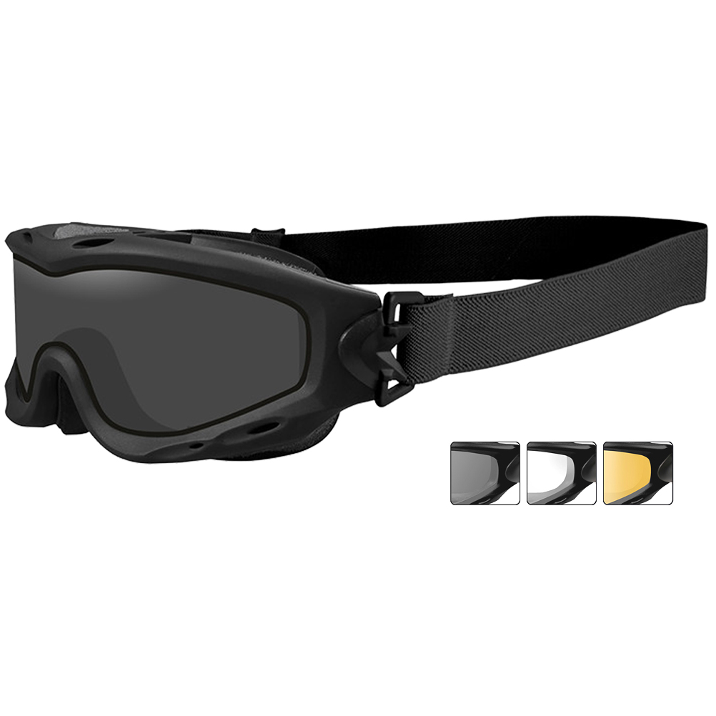 Wiley X Spear Goggles - Dual Smoke Grey + Clear + Light Rust Lens / Matte  ...
