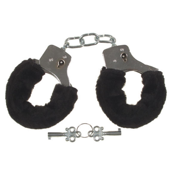 MFH Classic Love Handcuffs with Black Furry Trim