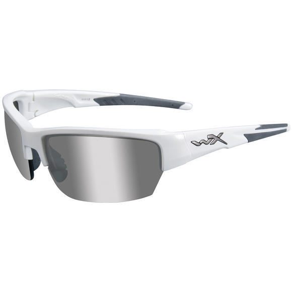 Wiley X WX Saint Glasses - Silver Flash Smoke Grey Lens / Gloss White Frame