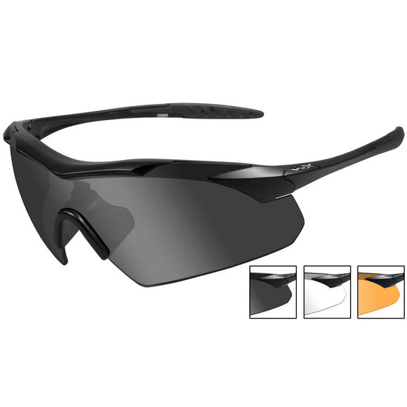 Wiley X WX Vapor Glasses - Smoke + Clear + Light Rust Lens / Matte Black Frame