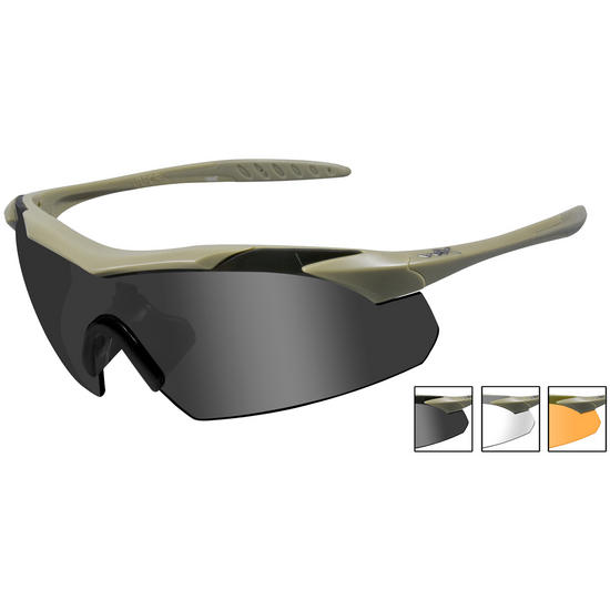 Wiley X WX Vapor Glasses - Smoke + Clear + Light Rust Lens / Matte Tan Frame