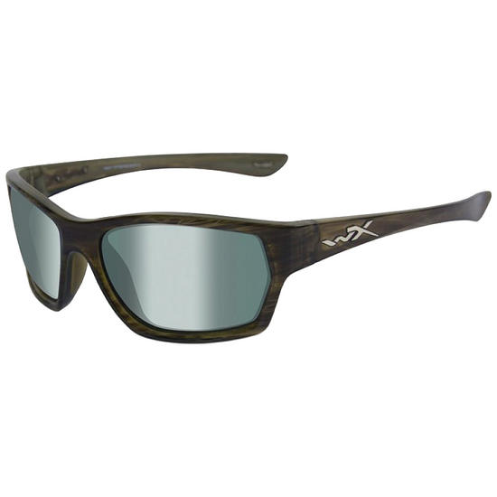 Wiley X WX Moxy Glasses - Polarised Green Platinum Lens / Olive Stripe Frame